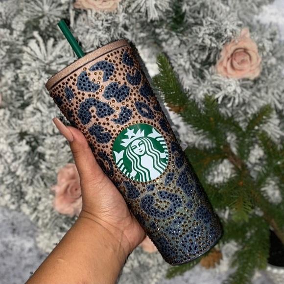 Rhinestone glitter ombré leopard print tumbler